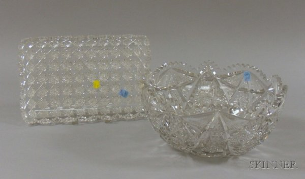 895: Rectangular Colorless Cut Glass Tray and a Punch B