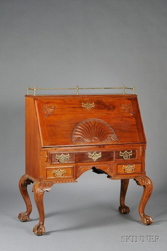 970: Late Victorian Carved Mahogany Slant-lid Desk with