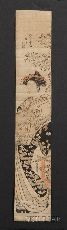 2: Koryusai: Beauty Standing by a Garden Fence, hashira
