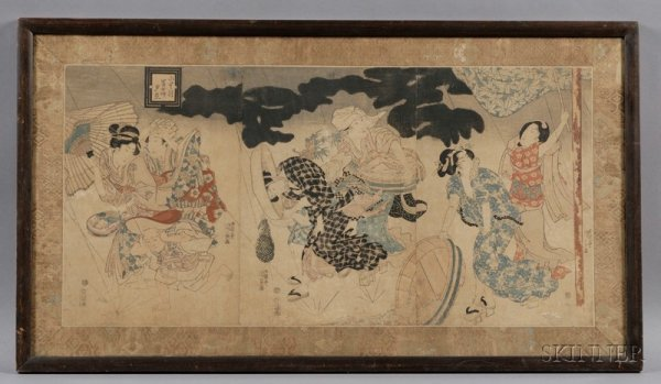 7: Kunisada: Shower on the Way Home, from the Six-Month