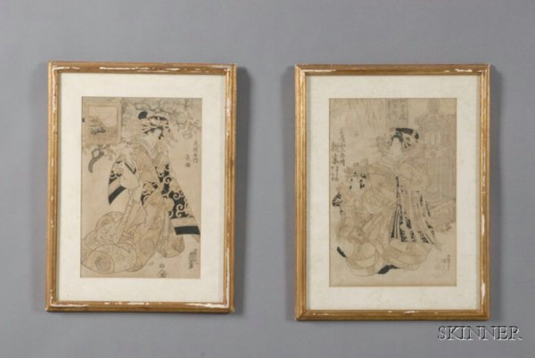 9: Two Japanese Woodblock Prints, Courtesan with Attend