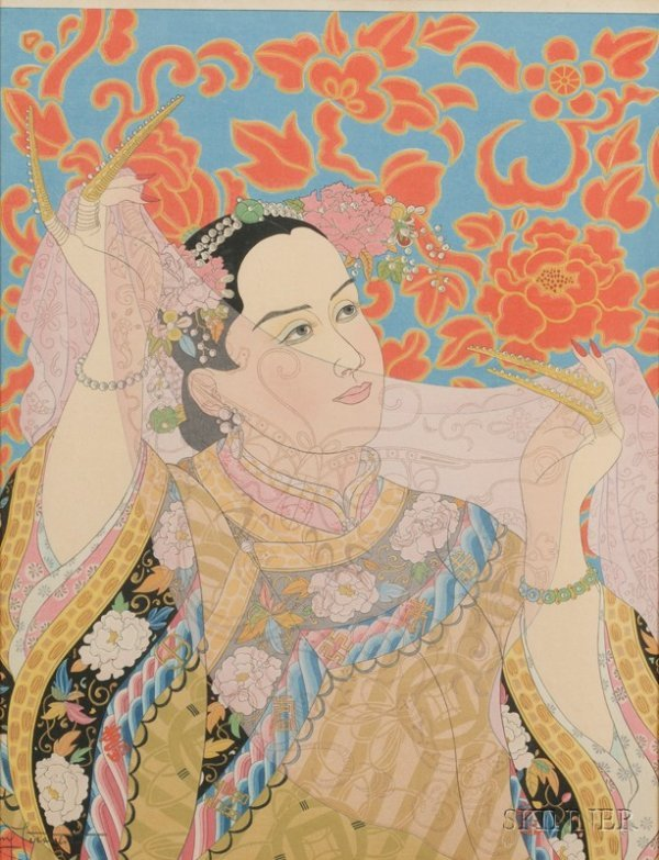 13: Two Woodblock Prints by Paul Jacoulet, Star of the