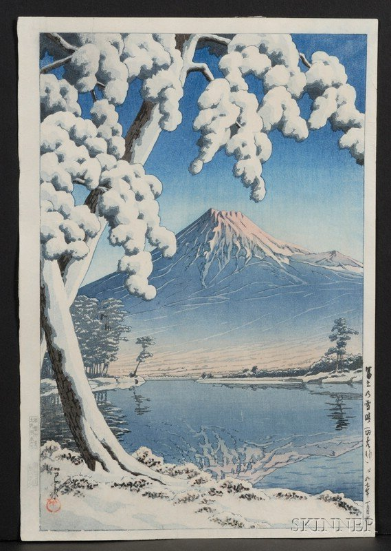 14: Hasui: Mt. Fuji after Snow, with publisher's, carve