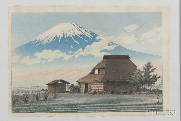16: Hasui: Farm beneath Mt. Fuji, (fine impression, col