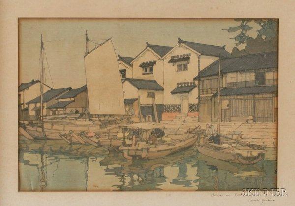 17: Yoshida Hiroshi: Kura in Tomonoura, framed, (fair t
