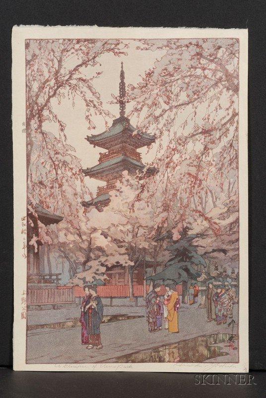 22: Yoshida Hiroshi: A Glimpse of Ueno Park, signed in