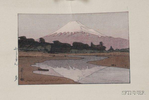24: Yoshida Hiroshi: Fujiyama from Suzukawa, with stamp