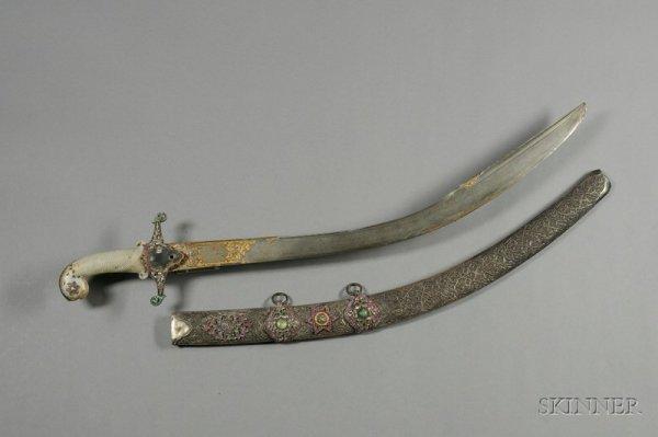 251: Jeweled Saber, Turkey, 18th century, repousse silv