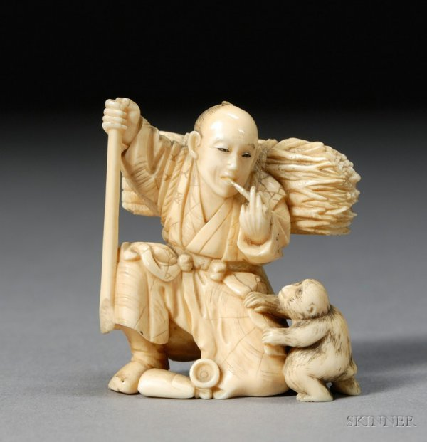 279: Ivory Carving, Japan, 19th century, scene of a woo
