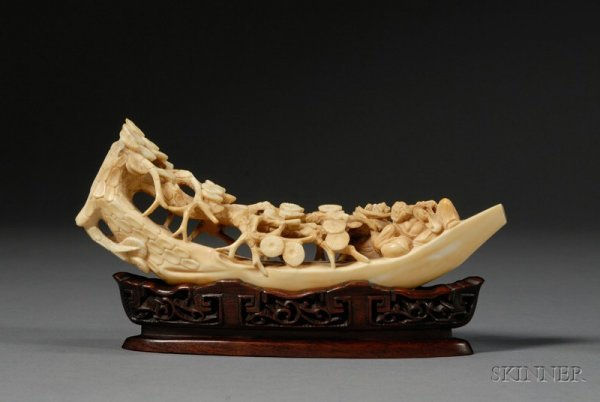 284: Ivory Carving, China, 19th century, carved as a pi