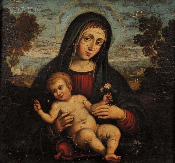 1: Italian School, 15th Century Style Madonna and Child