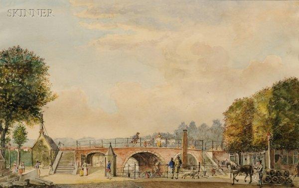17: Franz Schikkinger (Dutch, 1838-1902) Bridge over th