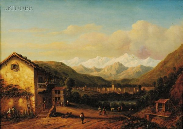 18: Continental School, 19th Century Village in an Alpi