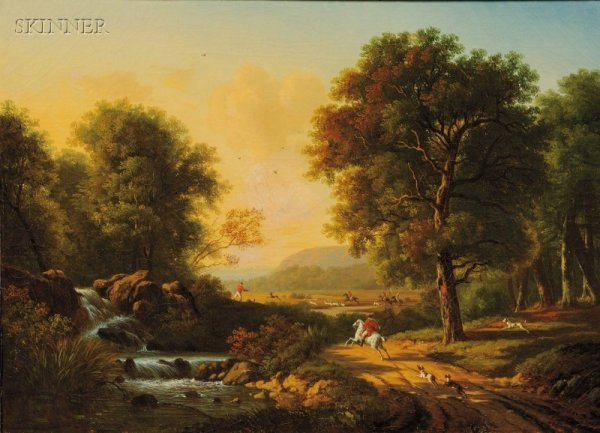 20: British School, 18th Century Style Hunting Scene Un