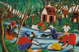 419: Wilmino Domond (Haitian, b. 1925) Lavandieres Sign