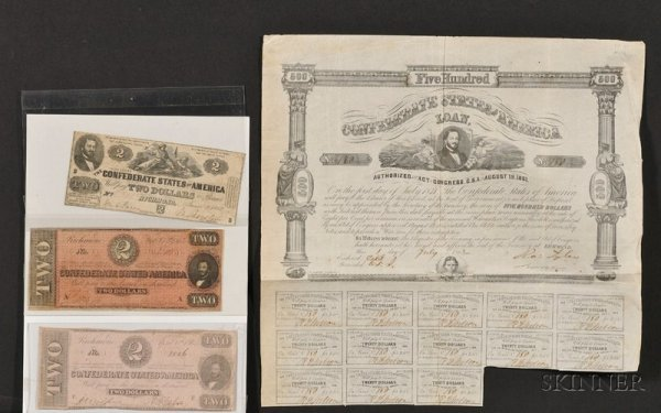 2: (American Judaica) Group of Confederate Currency and