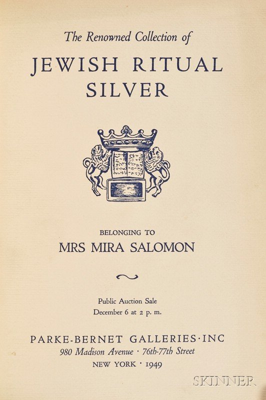 22: (Jewish Art) The Renowned Collection of Jewish Ritu