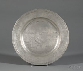 German Pewter Passover Seder Plate, Depicting A Sce
