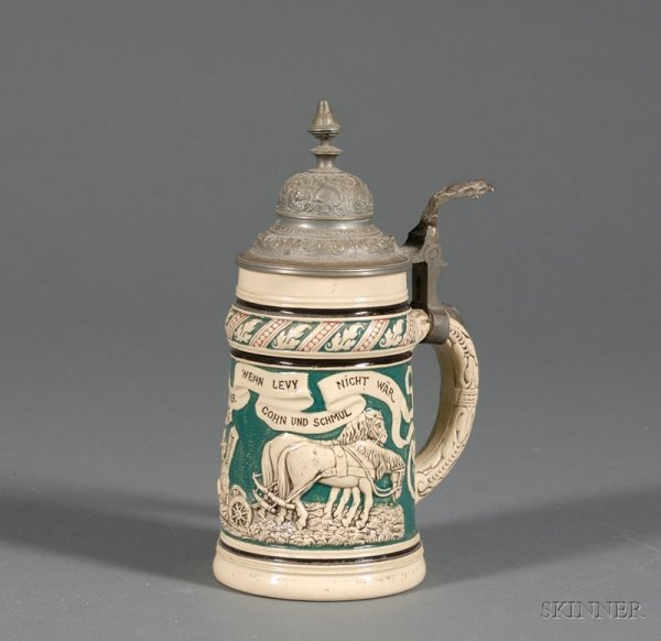 73: German Anti-Semitic Pottery and Pewter Mounted Stei