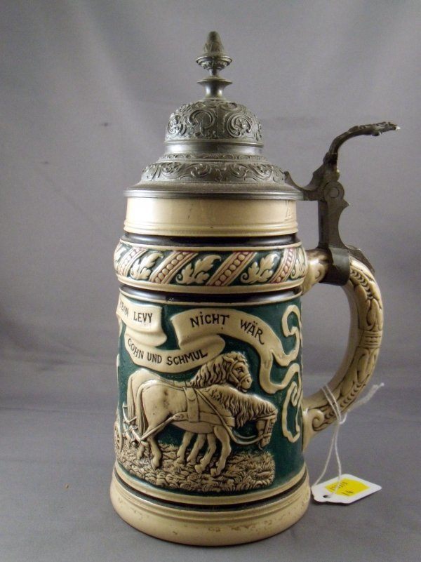 73: German Anti-Semitic Pottery and Pewter Mounted Stei - 2