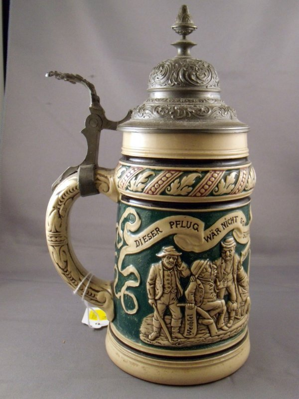 73: German Anti-Semitic Pottery and Pewter Mounted Stei - 3
