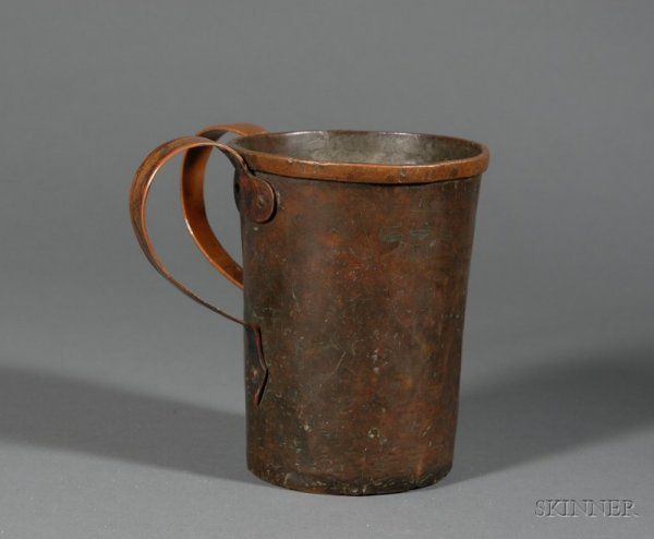 76: Copper Laver, of typical form with banded rim, two