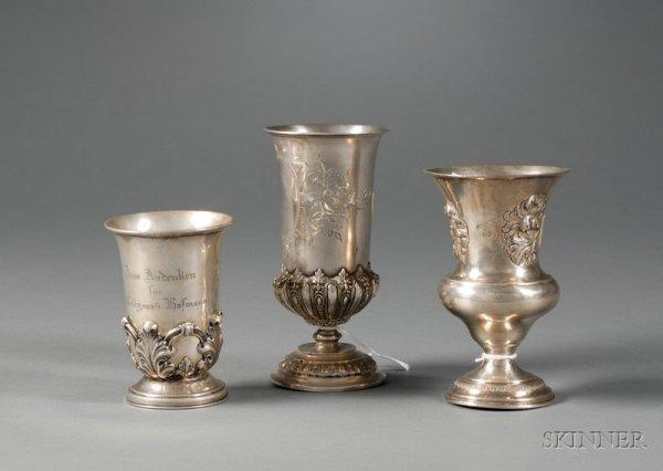 94: Three Silver Kiddush Cups, 19th/20th century, two A