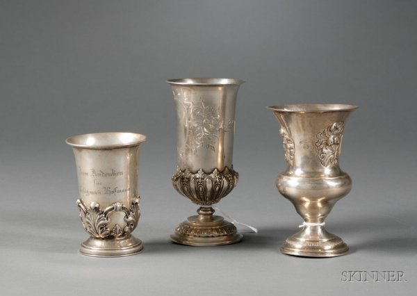 94: Three Silver Kiddush Cups, 19th/20th century, two A