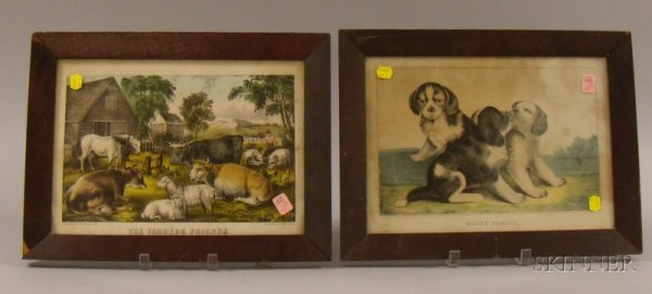 215: Three Framed 19th Century Hand-colored Lithographs