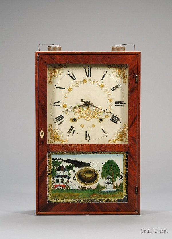 2: Cherry and Mahogany Box Clock by Eli Terry and Sons,