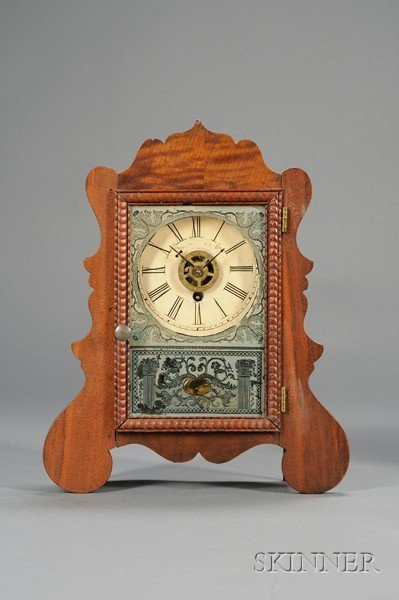 7: Mahogany Miniature Cottage Clock by Brewster Manufac