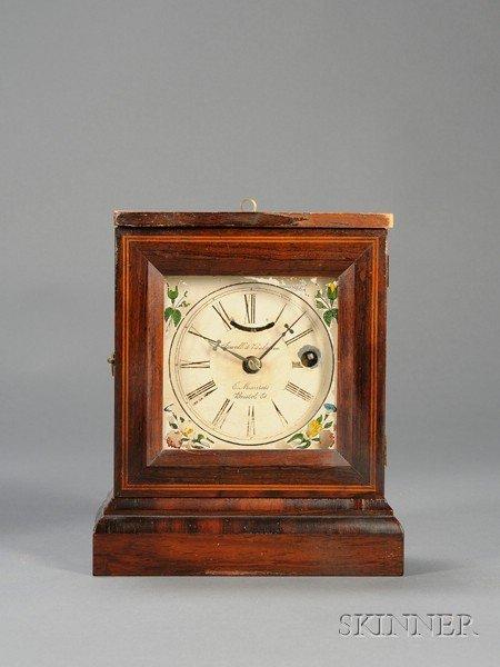 9: Rosewood Miniature Shelf Clock by Elisha Manross, Br
