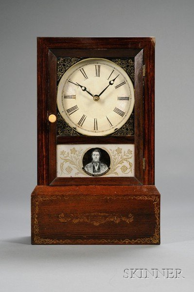 16: Grain-painted Cottage Clock by Brewster & Ingrahams