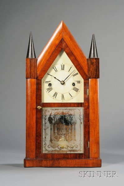 20: Rosewood Sharp Gothic Clock by H.N. Welch and Compa
