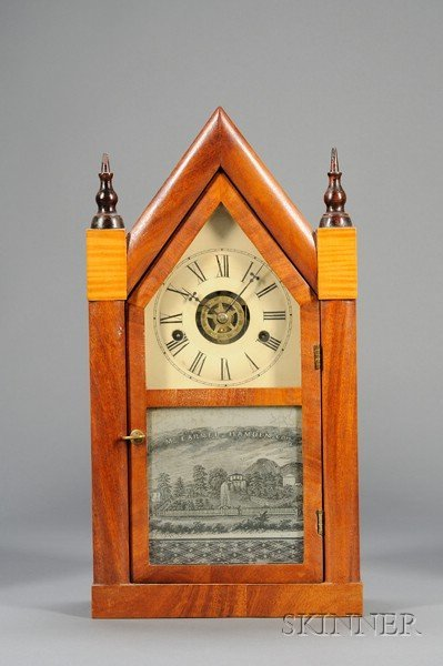 "21: Mahogany Miniature ""Sharp Gothic"" or Steeple Clock"