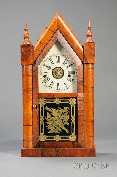 22: Rosewood Sharp Gothic Shelf Clock by Chauncey Jerom