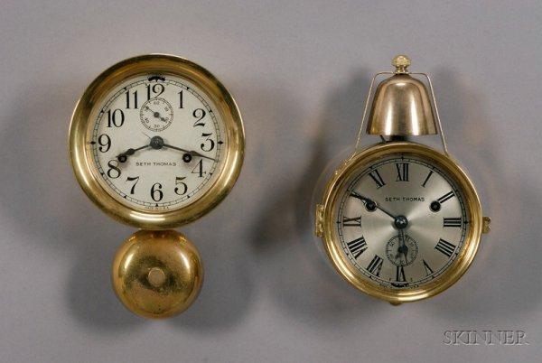 23: Two Seth Thomas Ship's Bell Wall Clocks, Thomaston,