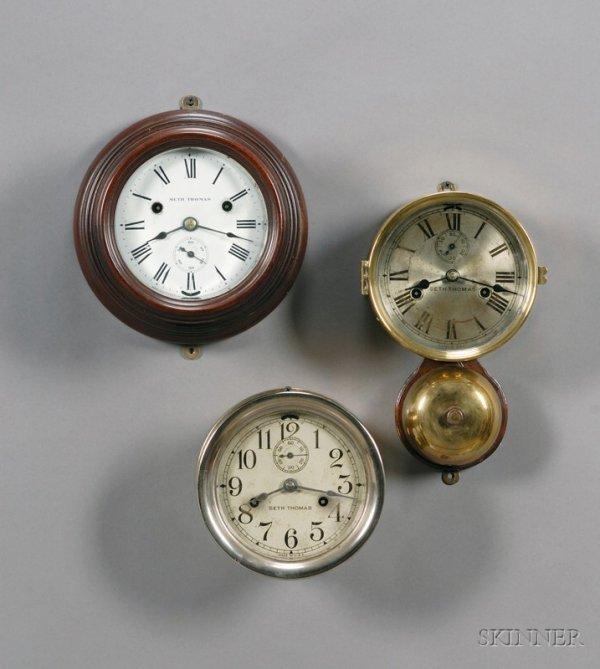 24: Three Seth Thomas Ship's Bell Wall Clocks, Thomasto