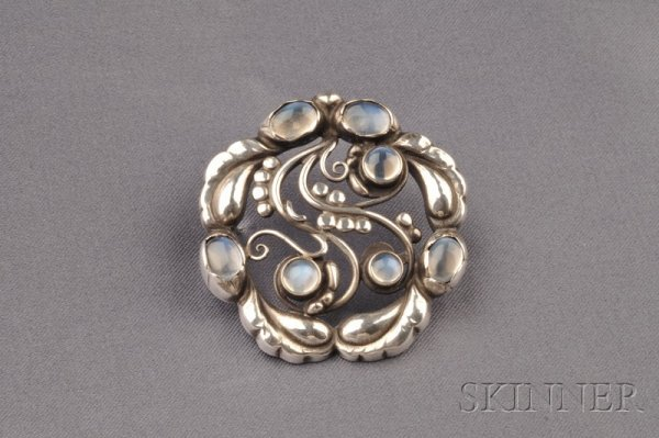 9: Sterling Silver and Moonstone Brooch, Georg Jensen,
