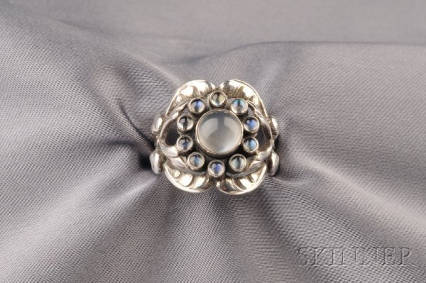 10: Sterling Silver and Moonstone Ring, Georg Jensen, D