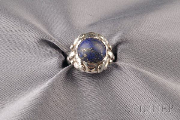 12: .830 Silver and Lapis Ring, Georg Jensen, Denmark,