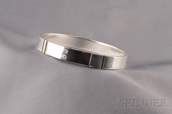 24: Sterling Silver and Diamond Bangle, Georg Jensen, D