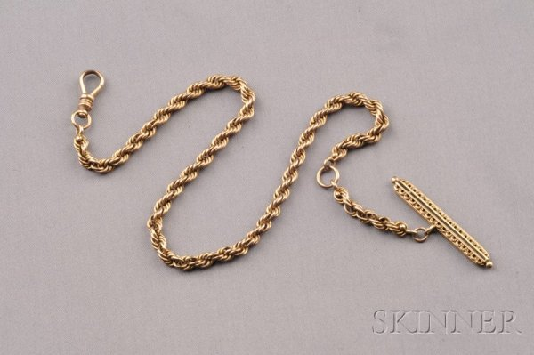 410: Antique 14kt Gold Watch Chain, composed of braided