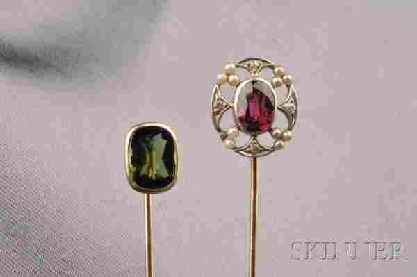 549: Two 14kt Gold Gem-set Stickpins, one bezel-set wit