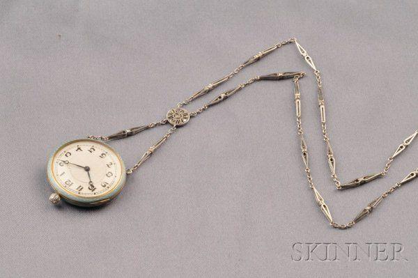 713: Edwardian Enamel and Diamond Pendant Watch, Meylan