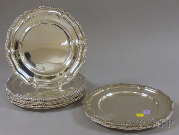 4: Set of Twelve Asian Silver Plated Service Plates, ma