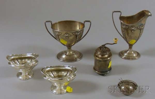 6: Six Sterling and Silver Plated Table Items, a pair o