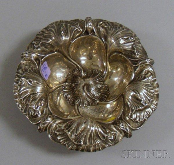 8A: Art Nouveau Silver Dish, leaf decoration including