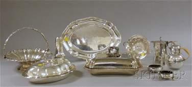 12 Group of Silver Plated Items a tray a bamboo hand