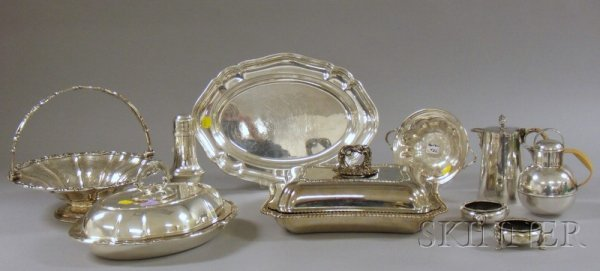 12: Group of Silver Plated Items, a tray, a bamboo hand